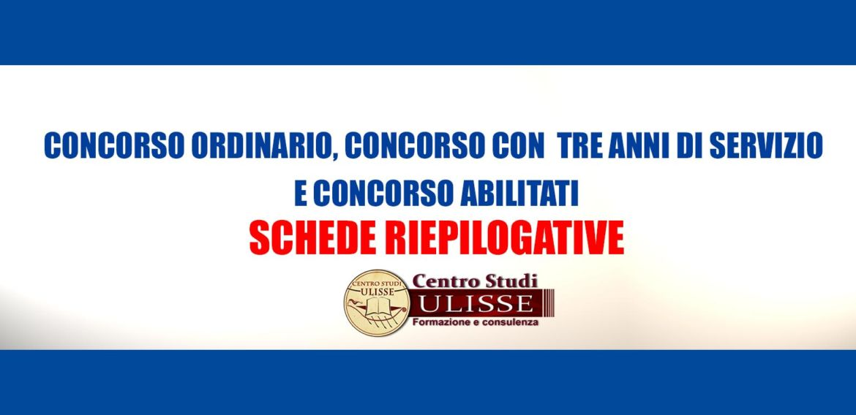 CONCORSO ORDINARIO, CONCORSO CON  TRE ANNI DI SERVIZIO E  CONCORSO ABILITATI: SCHEDE RIEPILOGATIVE.