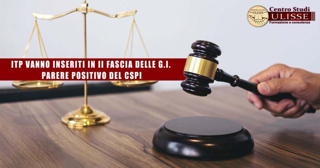 RICORSO ITP IN II FASCIA DELLE G.I. - PARERE POSITIVO DEL CSPI