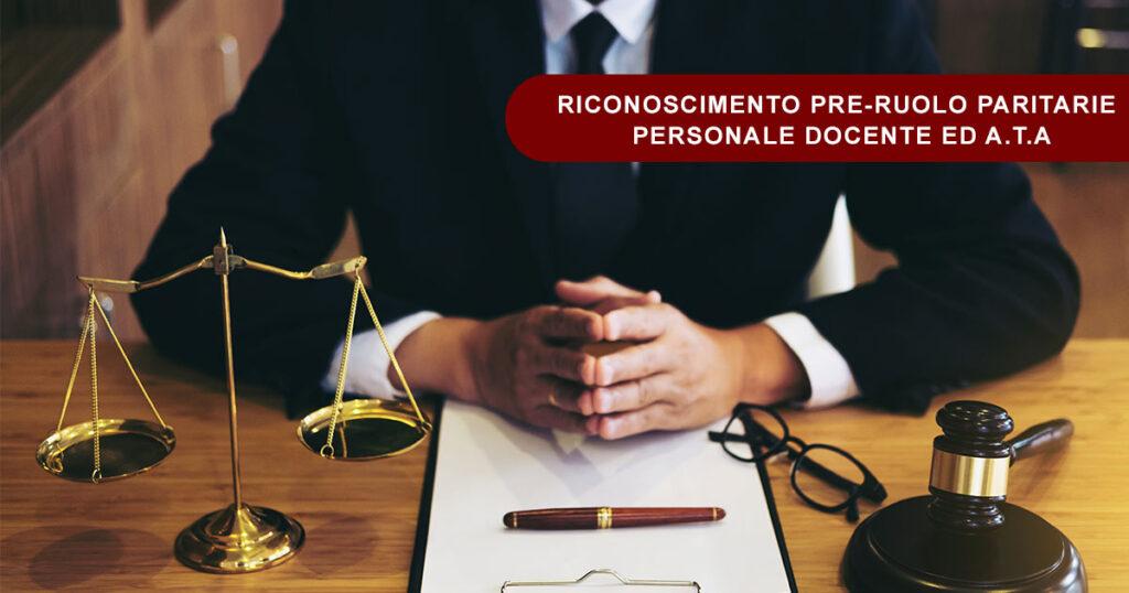 RICORSO PERSONALE DOCENTE ED ATA - RICONOSCIMENTO PRE-RUOLO PARITARIE