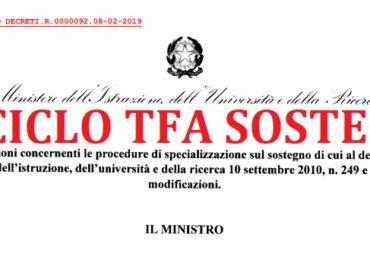 PUBBLICATO DECRETO TFA SOSTEGNO:  TITOLI DI ACCESSO