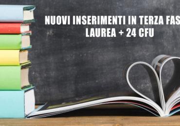 NUOVI INSERIMENTI IN TERZA FASCIA: LAUREA + 24 CFU